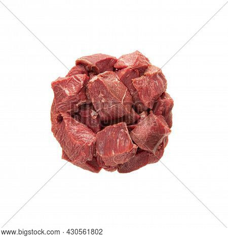 Large Pieces Of Meat Beef Portion, You Can Put The Isolate In A Plate. Isolate On A White Background