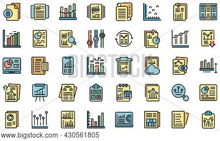 Business Report Icons Set. Outline Set Of Business Report Vector Icons Thin Line Color Flat On White