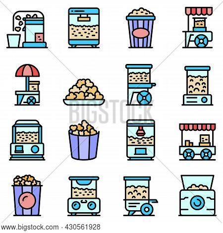 Popcorn Maker Machine Icons Set. Outline Set Of Popcorn Maker Machine Vector Icons Thin Line Color F