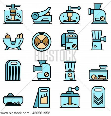 Vegetable Cutter Icons Set. Outline Set Of Vegetable Cutter Vector Icons Thin Line Color Flat On Whi