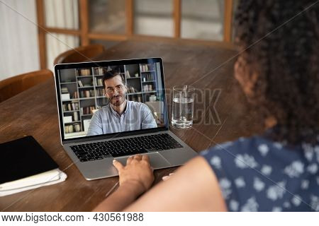 African American Student Girl Watching Online Lecture, Learning Webinar