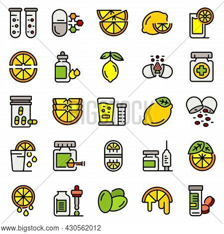 Vitamin C Icons Set. Outline Set Of Vitamin C Vector Icons Thin Line Color Flat On White