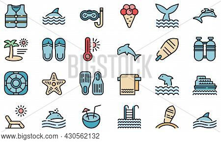 Swim With Dolphins Icon. Outline Swim With Dolphins Vector Icon Thin Line Color Flat On White