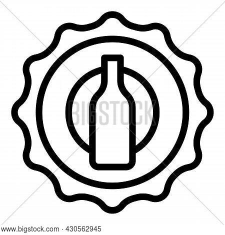 Beer Cap Icon Outline Vector. Bottle Top. Lid Badge