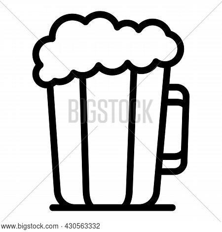 Foam Beer Mug Icon Outline Vector. Pint Glass. Bar Drink