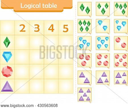 Logic Puzzle Game For Children. Fill In Empty Cells. Reusable Game. Vector Illustration