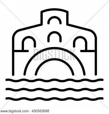 Venice Bridge Icon Outline Vector. Italy Rialto. Venezia City
