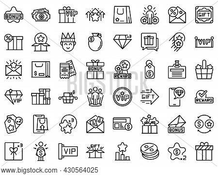 Customer Loyalty Program Icons Set Outline Vector. Member Reward. System Back