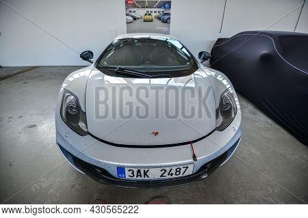 Nurburg, Germany - August 20, 2015. Garage Of Racing Rental Training Sports Cars. Road To Race Track