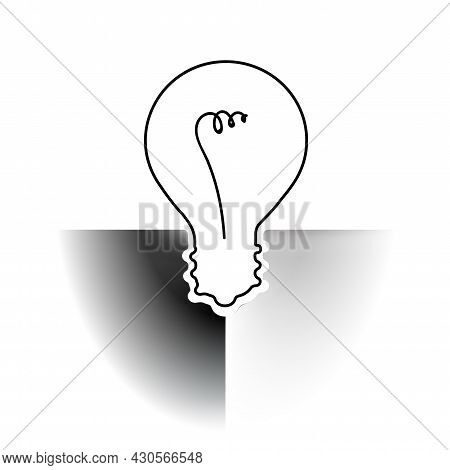 Abstract Minimal Light Bulb Contrast White Or Black Concept Pale Idea. Delicate Nuance Of Muted Shad