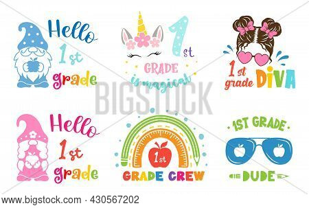 First Grade Designs. Back To School Sign. First Day Of School Illustrations.