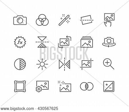 Simple Set Of Image Editing Related Vector Line Icons. Contains Such Icons As Image Gallery, Auto Co