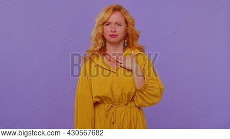 Unhealthy Redhead Lovely Girl 20s Years Old In Yellow Dress Coughing Covering Mouth With Hand, Feeli
