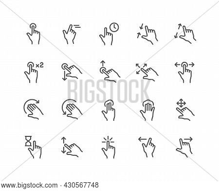 Simple Set Of Gesture Related Vector Line Icons. Contains Such Icons As Zoom, Move, Tap And More. Ed