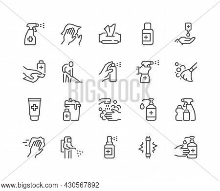 Simple Set Of Disinfection And Cleaning Related Vector Line Icons. Contains Such Icons As Man In Dis