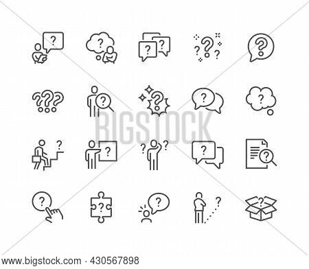 Simple Set Of Question Related Vector Line Icons. Contains Such Icons As Puzzle, Confused Man, Quest