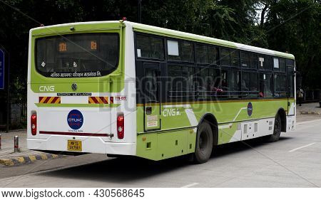 Cng Fueled City Bus Halting At A Bus Stop. Location: Nashik, Maharashtra, India, Date: August 22 202