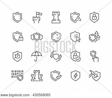 Simple Set Of Defense Related Vector Line Icons. Contains Such Icons As Computer Security, Umbrella,