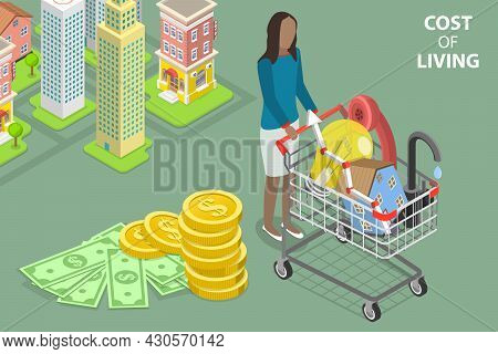 3d Isometric Flat Vector Conceptual Illustration Of Cost Of Living, Family Budget Planning