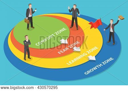 3d Isometric Flat Vector Conceptual Illustration Of Stepping Outside Comfort Zone, Transition From C