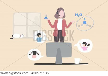 Online Learning In Quarantine, Remote School Or Study From Home, Virtual Teacher Teach From Remote D