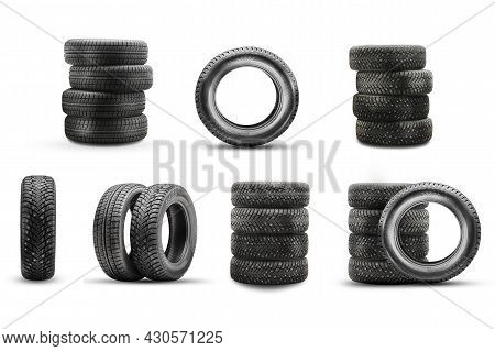Icons Of The Bus Photo. Winter Set Of Studded Tires Icons Isolate On A White Background