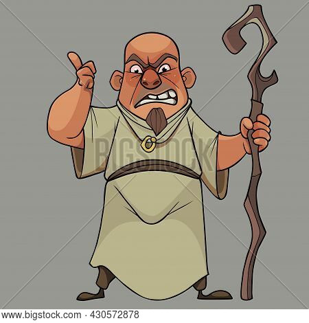 Cartoon Bald Man In A Long Tunic With A Staff In His Hand Threatens With A Finger