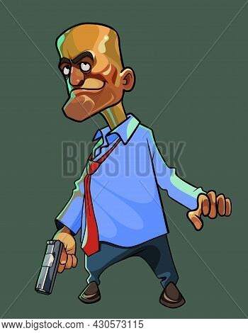 Cartoon Menacing Man In A Shirt With A Tie Stands With A Gun In His Hand