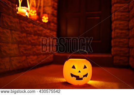 Halloween Celebration Party. Joke For Children Is Ready For Trick Or Treat On Halloween Night. Big B