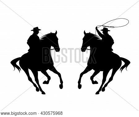 Cowboy Rider Riding Galloping Horse And Throwing Lasso - Wild West Ranger Black And White Vector Sil