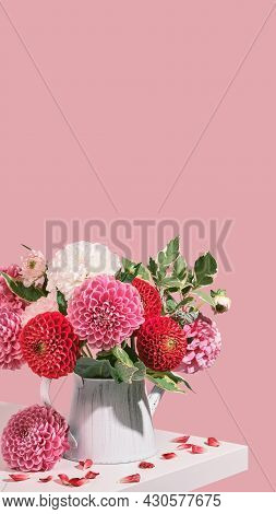 Autumn Bouquet Of Beautiful Dahlias Flowers On White Table, Pink Colors, Isometric View. Vertical Sm