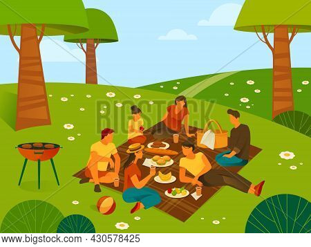 Picnic Or Recreation In Forest Or Parkland.