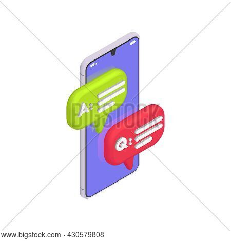 Customer Service Isometric Composition With Icons Of Chat Replies And Image Of Smartphone Vector Ill