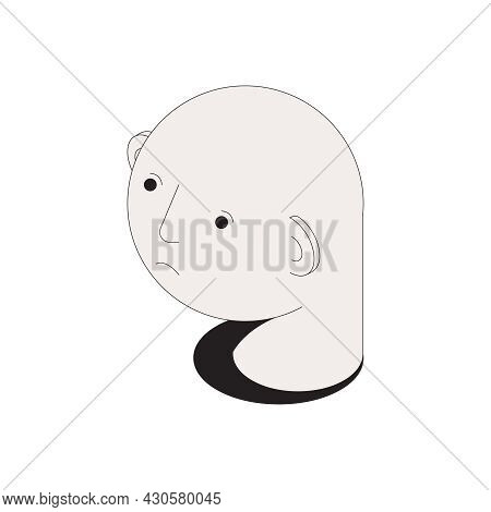 Hair Problems Isometric Composition With Isolated Image Of Male Head With No Hair Vector Illustratio