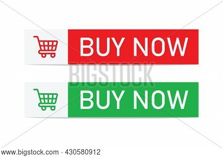 Buy Now Button. Green And Red Buy Now Flat Button With Shopping Cart Icon Template, Web Design Eleme