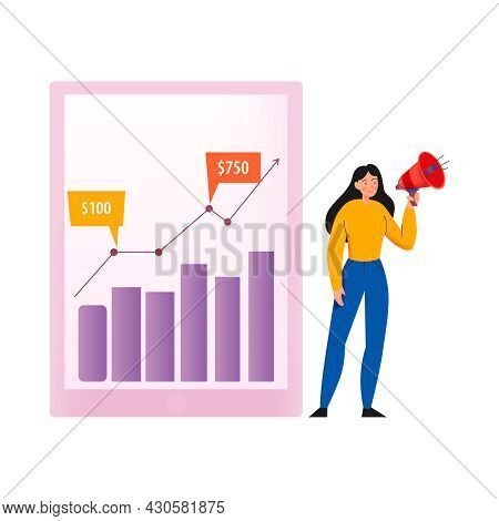 Crowdfunding Composition With Human Character Of Girl With Megaphone And Income Growth Diagram Vecto