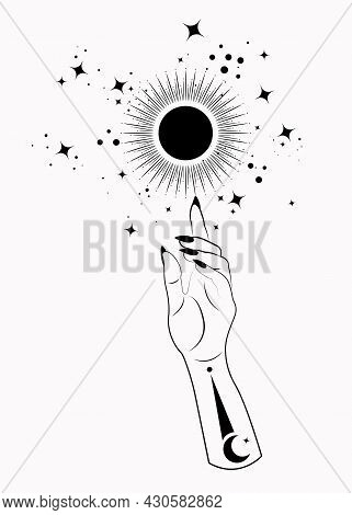 Mystical Woman Hand Alchemy Esoteric Magic Sun Symbol, Sacred Geometry. Boho Style Logo In Black Out