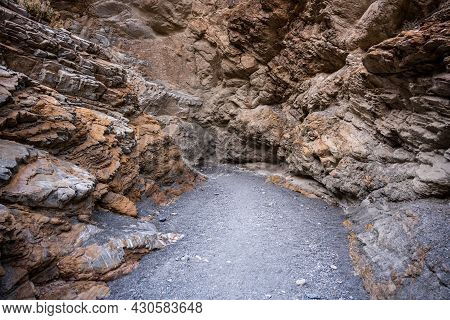 Walking Into Dead End Of Canyon In Death Valley National Park
