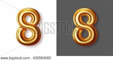 Metallic Gold Numeral Symbol - 8. Creative Vector Illustration