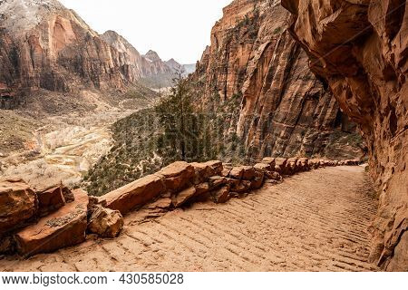 Wide Trail Heads Downhill Into Zion Canyon From Angels Landing Along The West Rim
