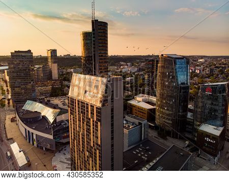 Vilnius, Lithuania - October 2019: Beautiful Aerial Evening View Of Vilnius Business District With S
