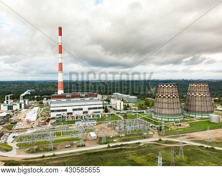 Aerial View Of Heating Plant And Thermal Power Station. Combined Modern Power Station For City Distr