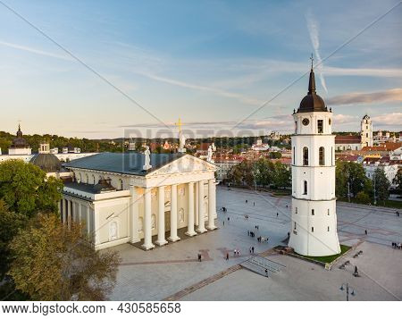 Aerial View Of The Cathedral Square, Main Square Of Vilnius Old Town, A Key Location In City's Publi