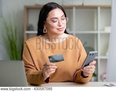 Bank Payment. Business Woman. Online Shopping. Corporate Client. Smiling Elegant Stylish Lady Lookin