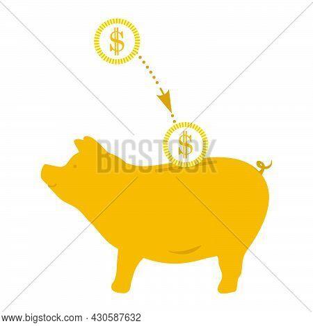 Vector Illustration Piggy Bank Money Coins Dollars Financial Operations Banking Put Money On Deposit