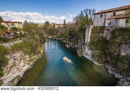 Cividale Del Friuli Photographed From Natisone River Near Udine In Friuli-venezia Giulia In Italy