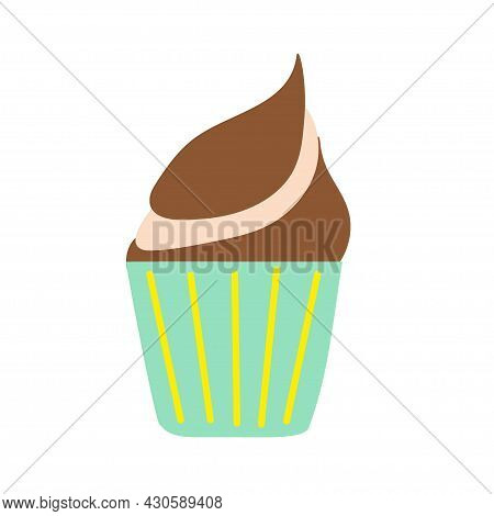 Colored Cupcake In A Cupcake With Chocolate Cream On An Isolated Background. Baking Desserts. Tea Ti