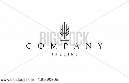 Vector Logo On Which An Abstract Image Of A Wheat Ear In A Simple Style.