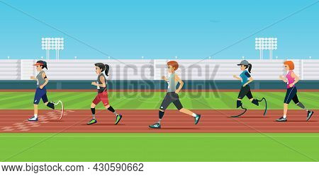 A Handicapped Runner Is Running A Race In The Stadium.