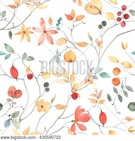 Floral seamless pattern with abstract flowers, berries and leaves on branches, colorful watercolor print on white background, garden illustration for textile, wallpapers or wrapping paper.